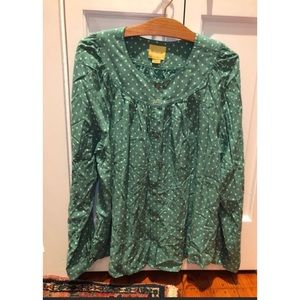 Anthropologie Maeve Kelly Green Dotted Blouse XL